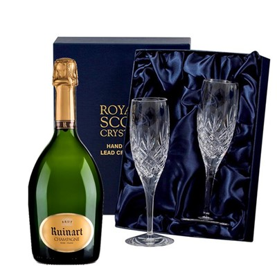 Ruinart Brut Champagne 75cl with 2 Royal Scot Edinburgh Flutes