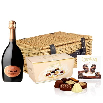 Ruinart Rose Champagne 75cl And Chocolates Hamper