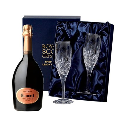 Ruinart Rose Champagne 75cl with 2 Royal Scot Edinburgh Flutes