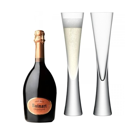 Ruinart Rose Champagne 75cl with LSA Flutes