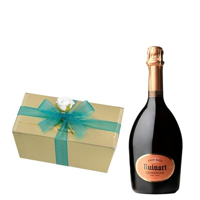 Ruinart Rose Champagne 75cl With Selection Of Milk, White And Dark Belgian Chocolates 460g