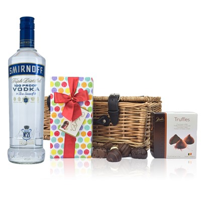 Smirnoff Blue Label Vodka and Chocolates Hamper A delightful gift of Smirnoff Blue Label Vodka along with a box of Mini Duc d'O Belgin Chocolates 50g and Belgid'Or Fine Belgin Choclates 175g all packed in a wicker hamper with leather straps lined with wood wool.  All gifts come with a gift card with message of your choice.  . Price includes free UK Mainland Delivery, and Exports and international delivery available.