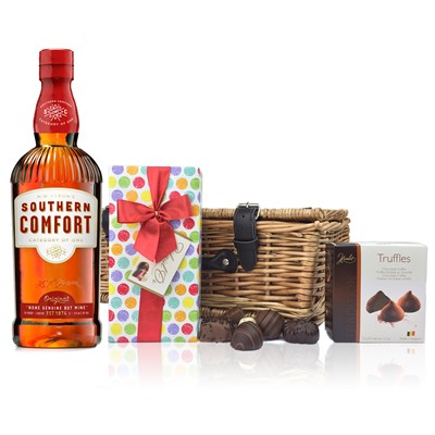 Southern Comfort and Chocolates Hamper A delightful gift of Southern Comfort along with a box of Mini Duc d'O Belgin Chocolates 50g and Belgid'Or Fine Belgin Choclates 175g all packed in a wicker hamper with leather straps lined with wood wool. All gifts come with a gift card with message of your choice.  Price includes free UK Mainland Delivery, and Exports and international delivery available.
