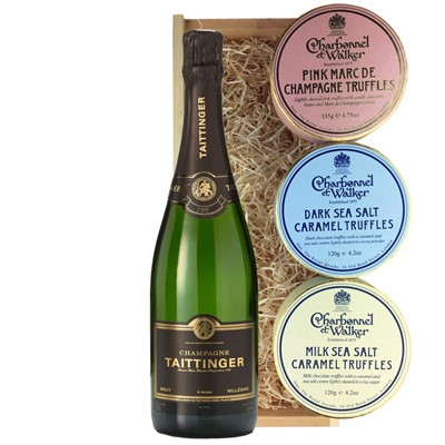 Taittinger 2013 Brut Vintage Champagne 75cl And Charbonnel Trio of Truffles Gift Box