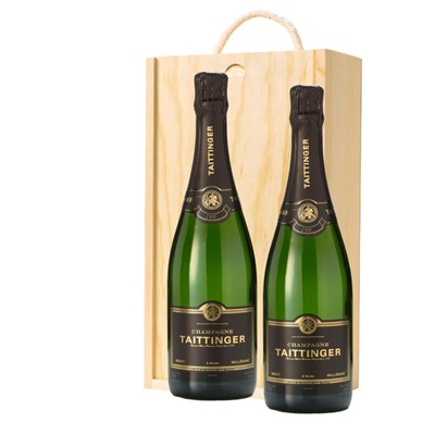 Taittinger 2013 Brut Vintage Champagne 75cl Twin Pine Wooden Gift Box (2x75cl)