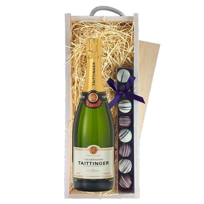 Taittinger Brut Reserve Champagne 75cl & Champagne Truffles, Wooden Box