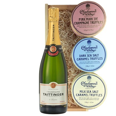 Taittinger Brut Reserve Champagne 75cl And Charbonnel Trio of Truffles Gift Box