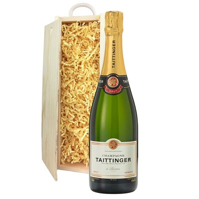 Taittinger Brut Reserve Champagne 75cl In Pine Gift Box