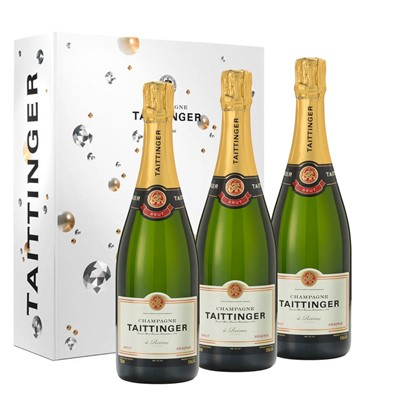 Taittinger Brut Reserve Champagne 75cl Trio In a Branded Gift Boxed