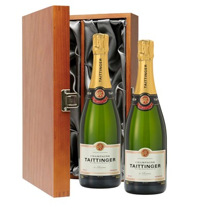 Taittinger Brut Reserve Champagne 75cl Twin Luxury Gift Boxed (2x75cl)