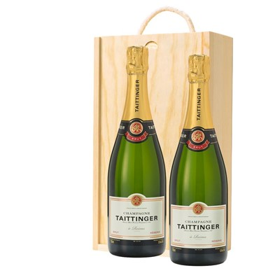 Taittinger Brut Reserve Champagne 75cl Twin Pine Wooden Gift Box (2x75cl)