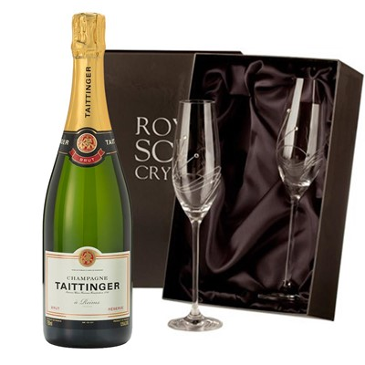 Taittinger Brut Reserve Champagne 75cl with 2 Royal Scot Edinburgh Flutes