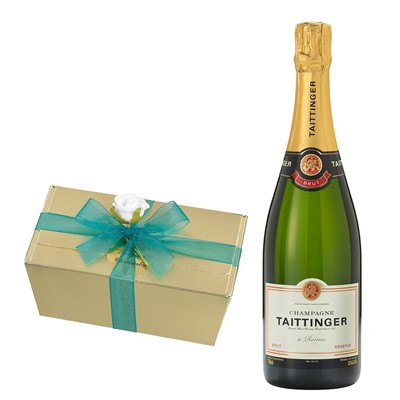 Taittinger Brut Reserve Champagne 75cl With Selection Of Milk, White And Dark Belgian Chocolates 460g