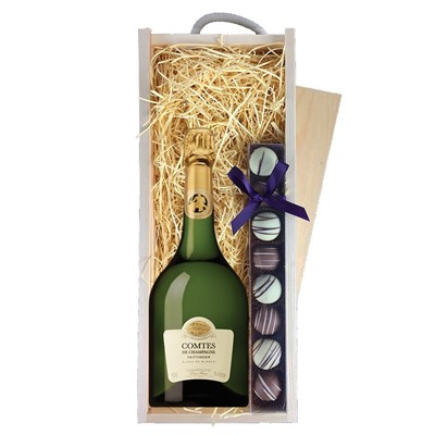 Taittinger Comtes Champagne 2007 75cl & Champagne Truffles, Wooden Box