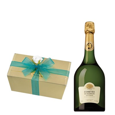 Taittinger Comtes Champagne 2007 75cl With Selection Of Milk, White And Dark Belgian Chocolates 460g