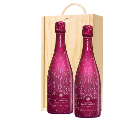 Taittinger Nocturne Rose City Lights Edition Twin Pine Wooden Gift Box (2x75cl)