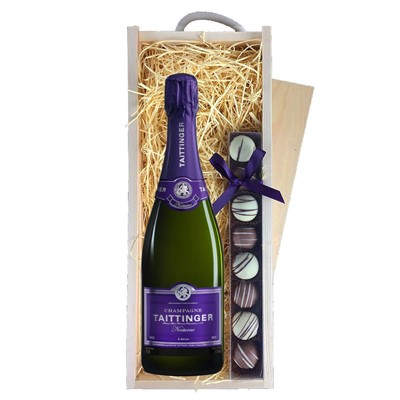 Taittinger Nocturne Sec Champagne 75cl & Champagne Truffles, Wooden Box