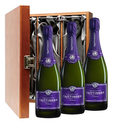 Taittinger Nocturne Sec Champagne 75cl Three Bottle Luxury Gift Box