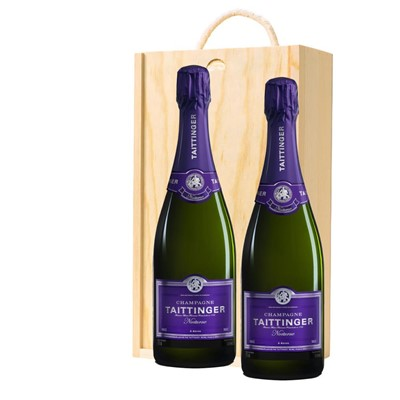 Taittinger Nocturne Sec Champagne 75cl Twin Pine Wooden Gift Box (2x75cl)