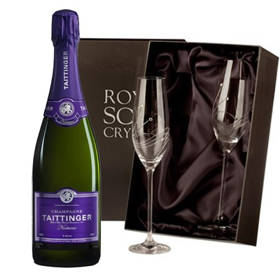 Taittinger Nocturne Sec Champagne 75cl with 2 Royal Scot Edinburgh Flutes