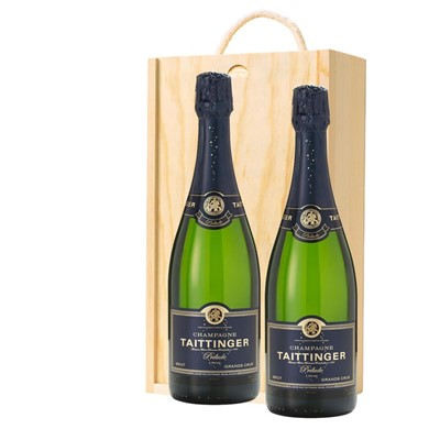 Taittinger Prelude Grands Crus Champagne 75cl Twin Pine Wooden Gift Box (2x75cl)