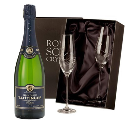 Taittinger Prelude Grands Crus Champagne 75cl with 2 Royal Scot Edinburgh Flutes