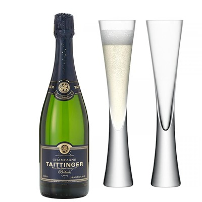 Taittinger Prelude Grands Crus Champagne 75cl with LSA Flutes