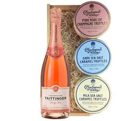Taittinger Prestige Rose Champagne 75cl And Charbonnel Trio of Truffles Gift Box