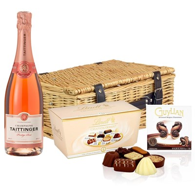 Taittinger Prestige Rose Champagne 75cl And Chocolates Hamper