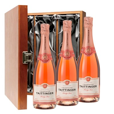 Taittinger Prestige Rose Champagne 75cl Three Bottle Luxury Gift Box