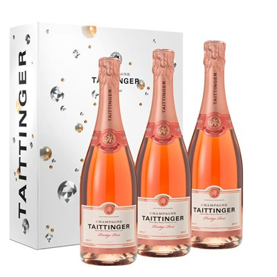 Taittinger Prestige Rose Champagne 75cl Trio In a Branded Gift Boxed