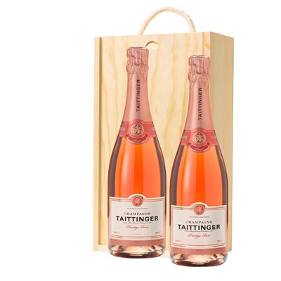 Taittinger Prestige Rose Champagne 75cl Twin Pine Wooden Gift Box (2x75cl)