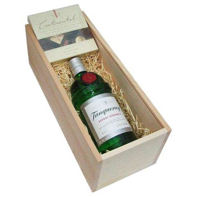 Buy a bottle of Tanqueray Gin in a wooden boxed wood wool lined with a box of chocolates. Tasting Notes : Quintessentially English A rich dry gin with plenty of intense juniper flavour and aroma and a powerful finish . Price includes free UK Mainland Delivery, and Exports and international delivery available.