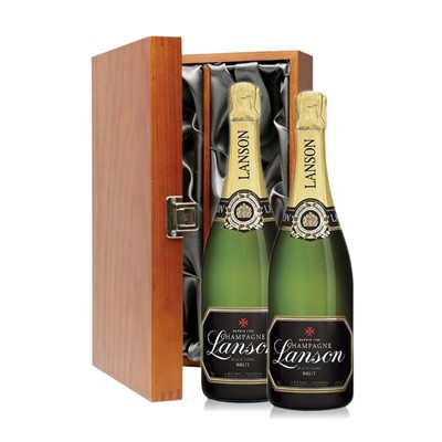 Buy Two bottles of Lanson Black Label NV Champagne 2 x 75cl Presented in a luxurious stained wooden box with hinged lid and clasp. The box is lined with silver satin and comes with a Gift Card for your personal message. . Price includes free UK Mainland Delivery, and Exports and international delivery available.
