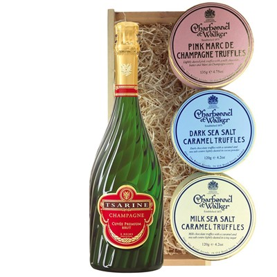 Tsarine Cuvee Premium Brut NV 75cl And Charbonnel Trio of Truffles Gift Box