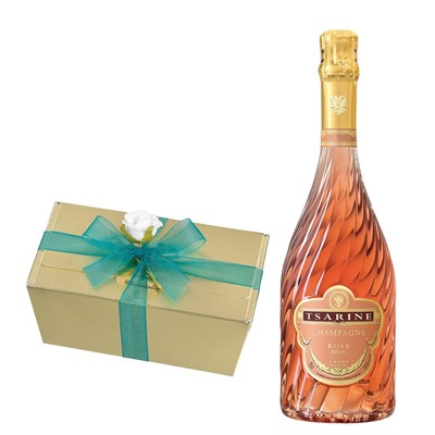 Tsarine Rose Champagne NV 75cl With Selection Of Milk, White And Dark Belgian Chocolates 460g