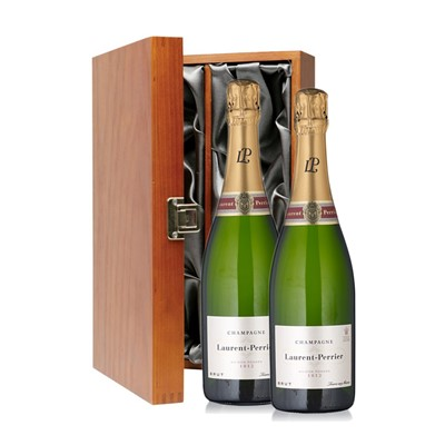 Buy Two bottles of Laurent Perrier La Cuvee NV Champagne 2 x 75cl Presented in a luxurious stained wooden box with hinged lid and clasp. The box is lined with silver satin and comes with a Gift Card for your personal message. . Price includes free UK Mainland Delivery, and Exports and international delivery available.