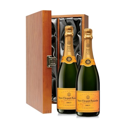 Buy Two bottles of Veuve Clicquot Yellow Label Brut NV Champagne 2 x 75cl Presented in a luxurious stained wooden box with hinged lid and clasp. The box is lined with silver satin and comes with a Gift Card for your personal message. . Price includes free UK Mainland Delivery, and Exports and international delivery available.