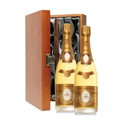 Buy Two bottles of Louis Roederer Cristal, Vintage, Champagne 2 x 75cl Presented in a luxurious stained wooden box with hinged lid and clasp. The box is lined with silver satin and comes with a Gift Card for your personal message.