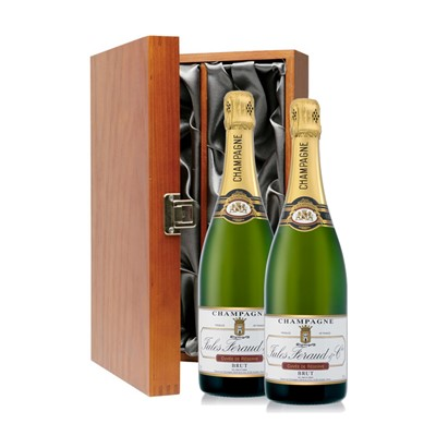 Buy Two bottles of Jules Feraud Brut NV Champagne 2 x 75cl Presented in a luxurious stained wooden box with hinged lid and clasp. The box is lined with silver satin and comes with a Gift Card for your personal message. . Price includes free UK Mainland Delivery, and Exports and international delivery available.