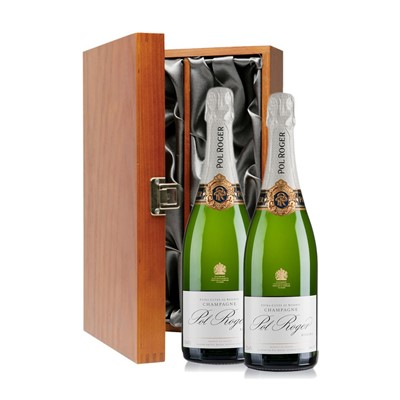 Buy Two bottles of POl Roger Brut NV Champagne 2 x 75cl, Presented in a luxurious stained wooden box with hinged lid and clasp. The box is lined with silver satin and comes with a Gift Card for your personal message. . Price includes free UK Mainland Delivery, and Exports and international delivery available.