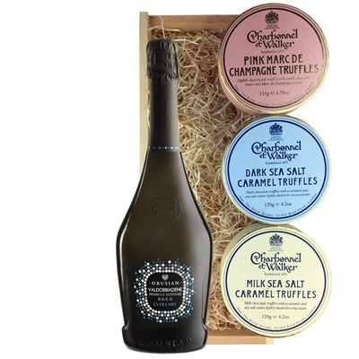 Valdobbiadene Superiore D.O.C.G. Spumante Prosecco 75cl And Charbonnel Trio of Truffles Gift Box