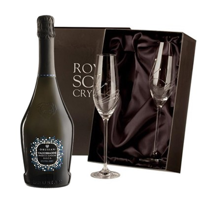 Valdobbiadene Superiore D.O.C.G. Spumante Prosecco 75cl with 2 Royal Scot Edinburgh Flutes