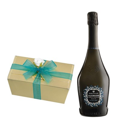 Valdobbiadene Superiore D.O.C.G. Spumante Prosecco 75cl With Selection Of Milk, White And Dark Belgian Chocolates 460g