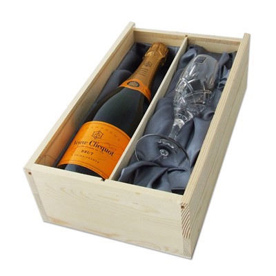 Veuve Champagne presented in a wooden box lined with Grey Silk and Royal Scot Crystal Glass
