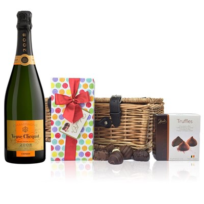 Veuve Clicquot 2008 Brut Vintage Champagne 75cl And Chocolates Hamper