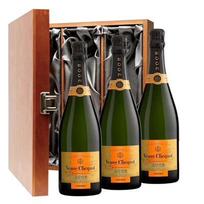 Veuve Clicquot 2008 Brut Vintage Champagne 75cl Three Bottle Luxury Gift Box