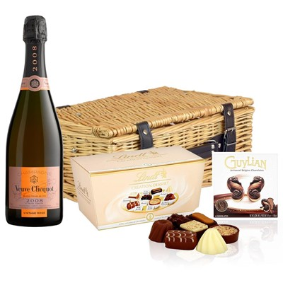 Veuve Clicquot 2008 Vintage Rose Champagne 75cl And Chocolates Hamper