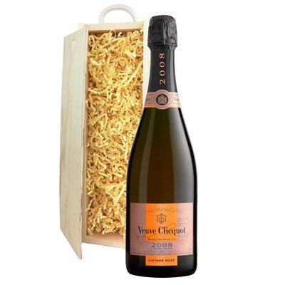 Veuve Clicquot 2008 Vintage Rose Champagne 75cl In Pine Gift Box