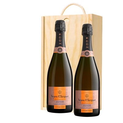 Veuve Clicquot 2008 Vintage Rose Champagne 75cl Twin Pine Wooden Gift Box (2x75cl)